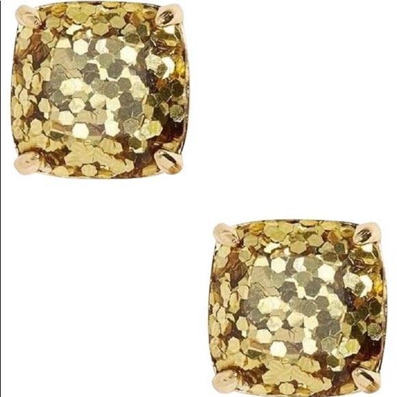 Gold glitter square stud earrings
